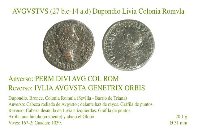 Avgvsto y Livia. Dupondio. Colonia Romula A20