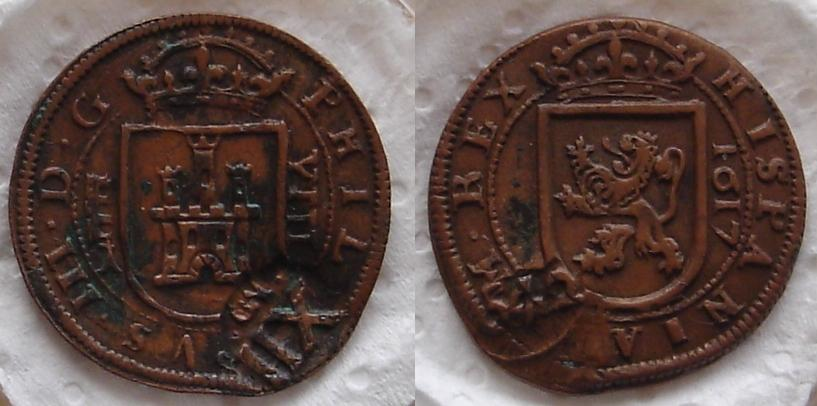 VIII Maravedís del Real Ingenio de Segovia de 1617. Sigla del ensayador. Dsc06910